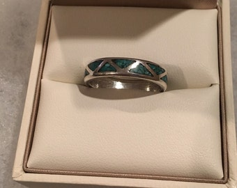 Sterling Silver Turquoise Inlay Ring Size: 8