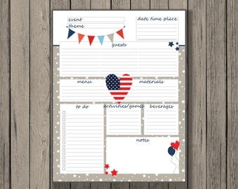 4th of July planner printable, party printable, party planner printable, cookout printable.  Flag Printable, July 4th Party Planner.
