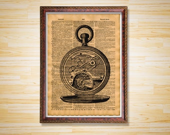 Antique Pocket Watch print Steampunk poster Clock dictionary page