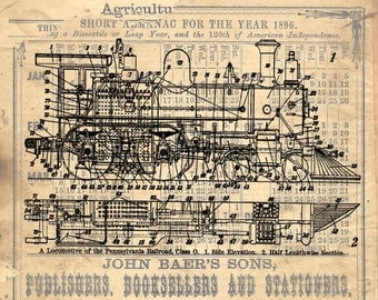 Train locomotive diagram vintage industrial rustic art print custom choice background from antique paper TLD309