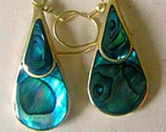 Abalone Paua Shell Earrings, Sea Shell Earrings, Vintage Mother Of Pearl Earrings, Handmade Woman's Earrings, Beach Earrings, Boho Earrings