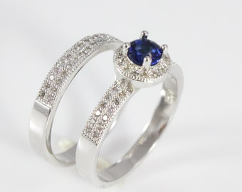 Blue Engagement and Wedding Ring Set, Gift For Her, Valentines Gift, Affordable Engagement Ring, Engagement Ring Sapphire, Wedding Band