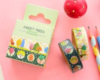 washi tape set/ masking tape set  (2 rolls, sweet trees) WT0163