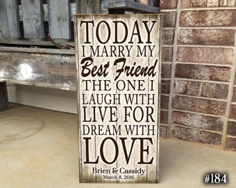 Custom Wedding Sign, MARRY, Handmade Sign, Today I Marry My Best Friend, Our Special Day, Wall Decor, Personalized Sign,  Wedding Gift