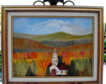 Autumn In The Mountains Original Art Oil On Canvas Board