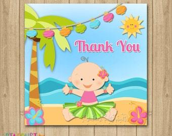 Luau Baby Shower Favor Tags, Luau Favor Tags, Hula Girl Thank You Tags, Favor Tags