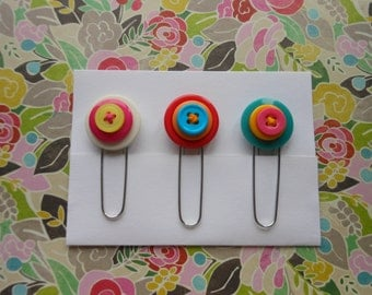 Button Paperclip Set, Neon Colors Set 1, Paperclip Bookmark, Button Bookmark