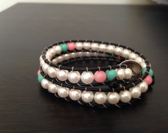Spring Inspired Double Wrap Leather (Chan Luu) Wrapped Bracelet