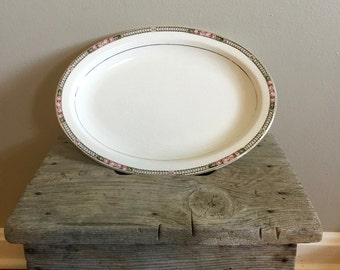 Vintage Canonsburg Platter - Serving Platter - Rose Pattern Oval Platter - Vintage China Platter - Gold Trim Platter