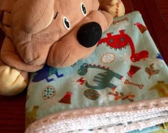 Flannel Dinosaur Baby Blanket