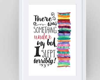 Princess and the Pea, Girl's Nursery Art, Princess Print, Fairy Tale, Childrens books, Fairy Tale Prints, Kids wall art, Princess theme