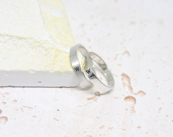 Sterling Silver Hand Stamped initial Ring,Name Silver Rings,Birthday ring,Personalized,Customized sterling silver jewelry,Wedding ring