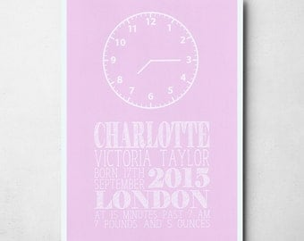 Personalised Pink Baby's Clock A4/A3 Print