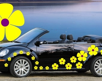 32,yellow & purple pansy flowers car decals,stickers in three sizes