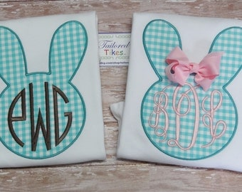 Personalized Sibling Bunny Shirts with Applique Bunny & Monogram - Brother Sister Sibling Set - Easter Sibling Set - Bunny Shirts