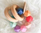 Baby Teething Toy Wooden Teether Rainbow Teether Silicone Bead Teether Hexagon Silicone Beads Teething Jewelry Wooden Teething Ring