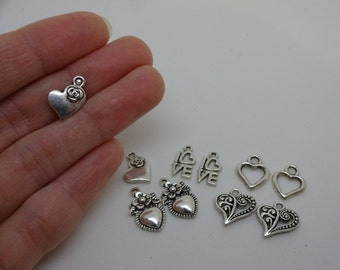 10 silver plated accorted heart love charms pendants DIY bracelets and necklaces jewellery making charms