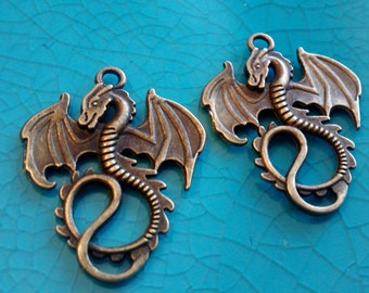 Dragons fantasy bronze plated charms pendants DIY bracelets earrings necklaces jewellery making charms