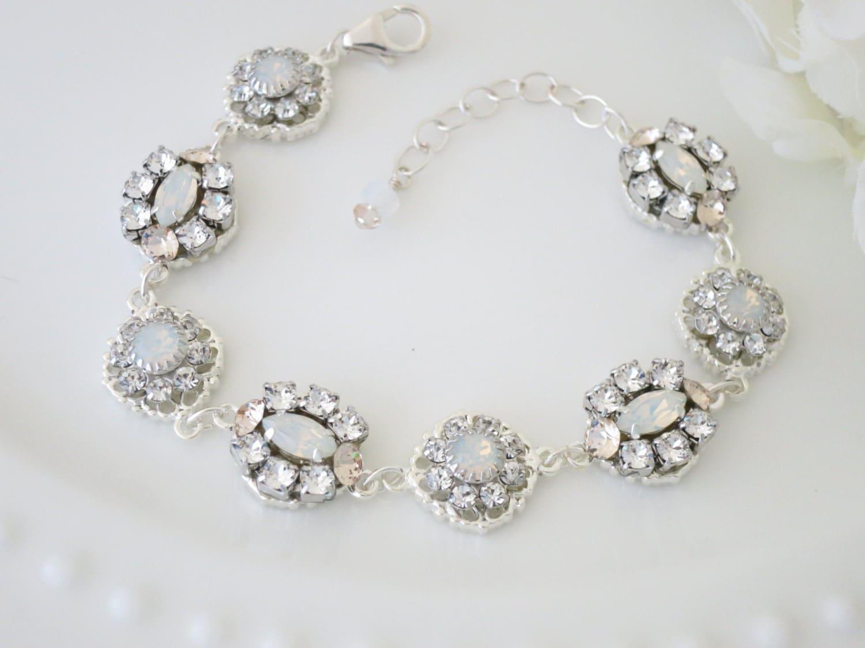 Swarovski White Opal bracelet, Crystal bridal bracelet, Silver link wedding bracelet