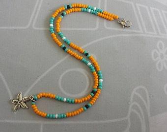 Starfish Bead Necklace, Orange Surfer Necklace, Golf Necklace, Surfer Jewelry, Summer Necklace, Golf Bead Necklace, Beaded Necklace, Surfing