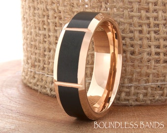 Tungsten Rose And Black Wedding Band Promise Ring 7mm Mens Womens Band Two Tone Rose Gold And Black Ring Beveled Slanted Comfort Fit Band