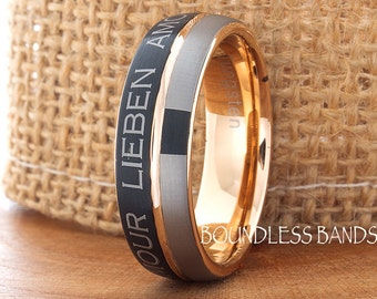 Tungsten Wedding Band Love Ring Black Rose Gold Plated Gun Metal Band 7mm Anniversary Ring Promise Ring Comfort Fit FREE Laser Engraving