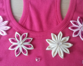 No Sleeves Top with Handmade flowers from fabric size S/M