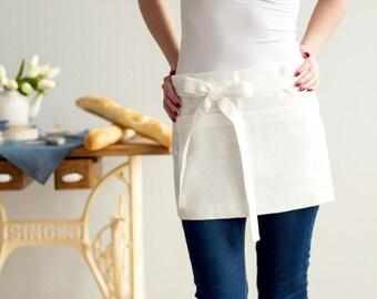 Short ivory Linen half APRON - Chef Apron - Waist Apron