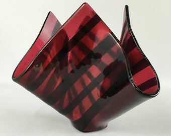 Cranberry Pink and Deep Plum Fused Glass Vase