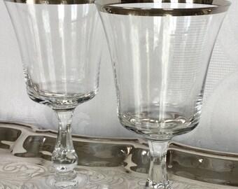 Vintage  Pair of Platinum Rimmed Toasting Wine Glasses