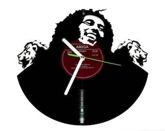 Bob Marley vinyl wall clock/ music decor/ music vinyl clock/