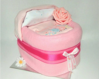 Nappy Cake baby showrr centrepiece crib in pink, baby shower gift diaper cake
