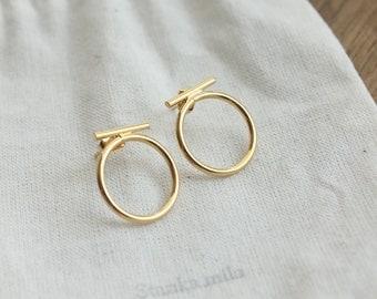 Nadine Golden brass earrings