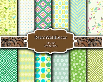 Green Yellow and Blue digital papers , polka dots , chevron ,  squares , flowers and birds , pastel colors , Buy 2 Get 1 FREE
