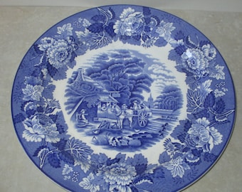 Blue and White Transferware ~ Enoch Woods ~ English Scenery ~ Woods and Sons England ~ English Country ~ Dinner Plate ~ Made in England