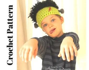Crochet Frankenstein Hat Pattern, Halloween Crochet Patterns, Crochet Frankenstein Wig Pattern, Kids Halloween Costume Crochet Pattern
