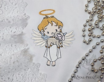 Machine Embroidery Design Angel holding a lamb – 3 sizes