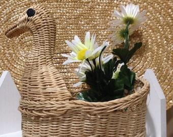 Vintage Wicker Duck Basket
