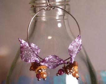 Purple Fiber And Beaded Pearl On A Dangling Hoop Earrings