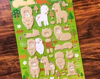 Fuzzy Alpaca Stickers - With Bears