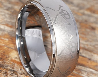 9mm Skull and Crossbones Wedding Band, Tungsten Ring, Mens Wedding Ring, Anniversary, Comfort Fit, Mens Jewelry, Skull Ring,Custom Engraved