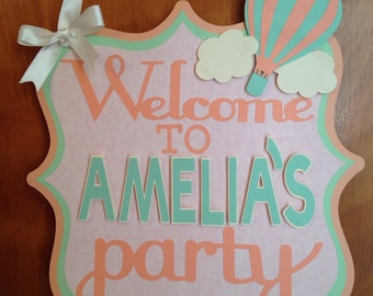 Birthday Party door sign, birthday party decoration, hot air balloon theme party, Hot air balloon door sign, Hot air balloon