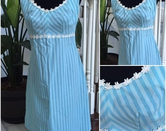 Vintage 1960 Blue Dress with Flowers in Neck Line and Waist  Medium