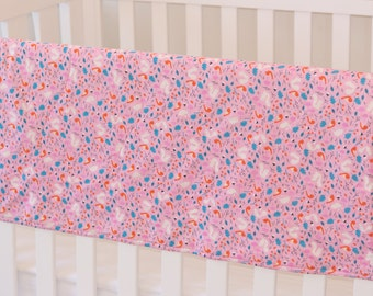 Organic cotton and bamboo baby blanket, pink forest animals - pink, blue, ivory and orange - girl