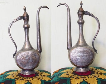Antique Central Asian Brass Teapot Ewer 19th century persia/afghanistan No:LID