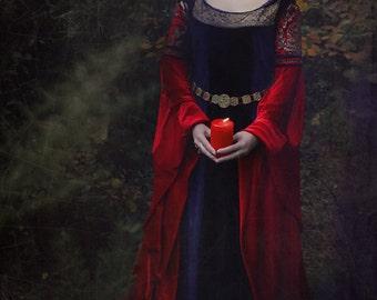 Arwen inspired Elven Blood Red Dress - Replica version LOTR Pagan Handfasting Wiccan Fantasy Medieval
