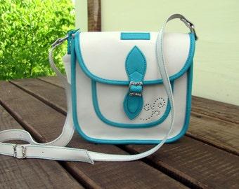 Crossbody leather bag Messenger bag Leather iPad Bag Purse Shoulder Summer white bag Women gift Valentines gift Gift for her Women handbag