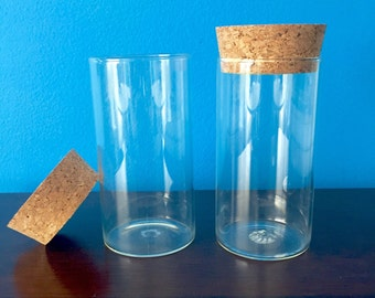 Pair of Apothecary-Style Glass Storage Jars with Fitted Cork Stopper Lids