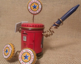 Recycled Junk Bot - British Inspired Tea Tin Found Object Robot Sculpture