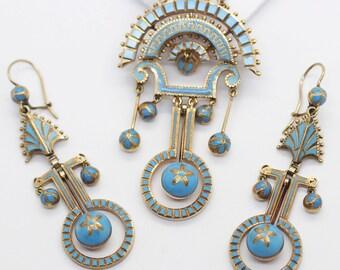Antique Victorian Earrings Brooch - Pendant 14k Gold Blue Enamel (#5961)